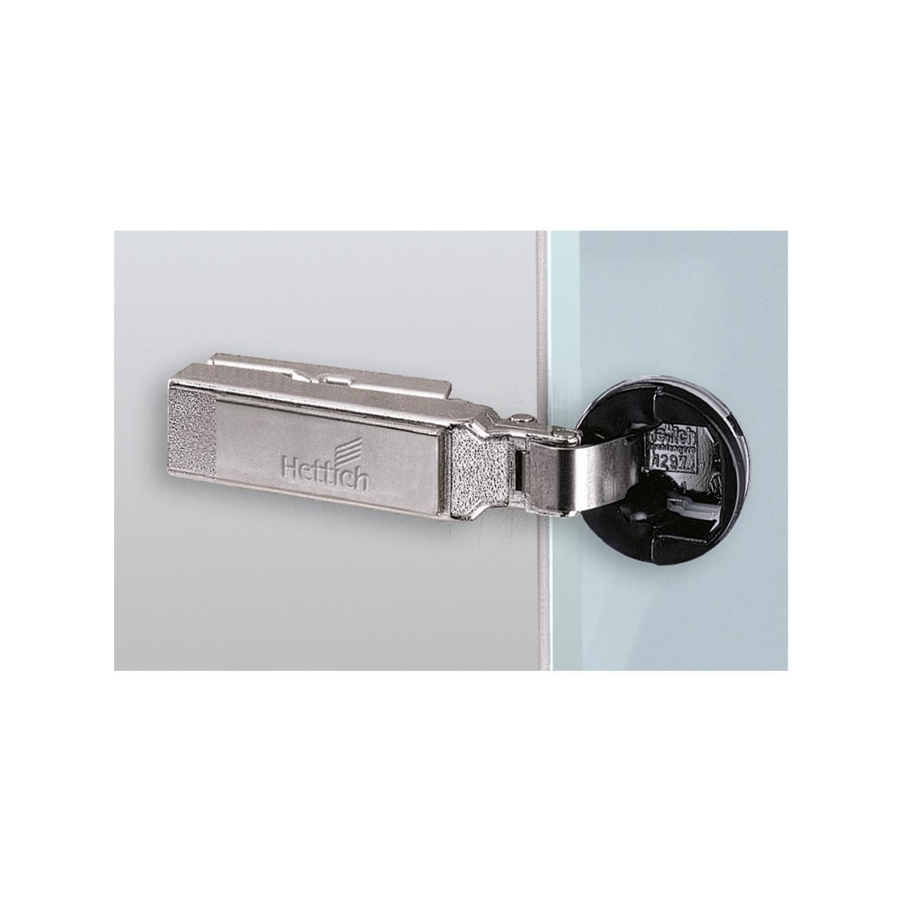 Cerniera per vetro Hettich, cerniere a molla per ante in vetro con scodello diametro 26 mm, sormonto totale fianco.