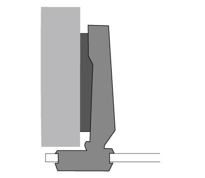 Cerniera per vetro Hettich, diametro 26 mm, sormonto totale fianco.